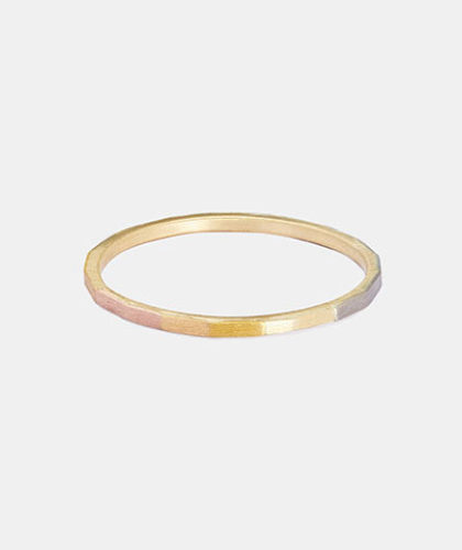 The Garnered - Sia Taylor Super Fine Rainbow Gold Faceted Band The Garnered Thumbnail