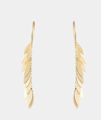 The Garnered - Sia Taylor Yellow Gold Falling Leaf Earring The Garnered Thumbnail 2