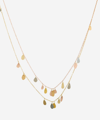 The Garnered - Sia Taylor Double Chain Raindrops Necklace The Garnered Thumbnail