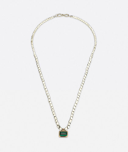The Garnered - Abby Mosseri Tourmaline Square Silver Bead Necklace The Garnered Thumbnail