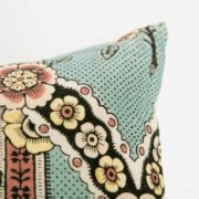 Small Turquoise Flower Printed Linen Cushion - Turqoise Flower Small Cushion Antoinette Poisson The Garnered 004