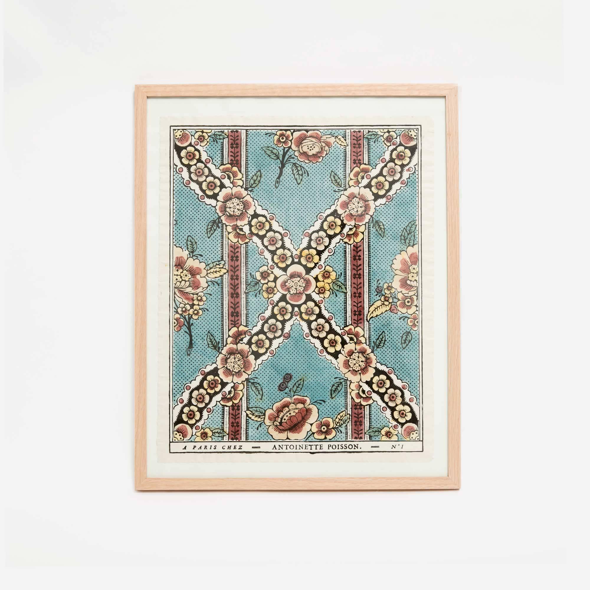 Turquoise flower framed domino paper the garnered the for Antoinette poisson
